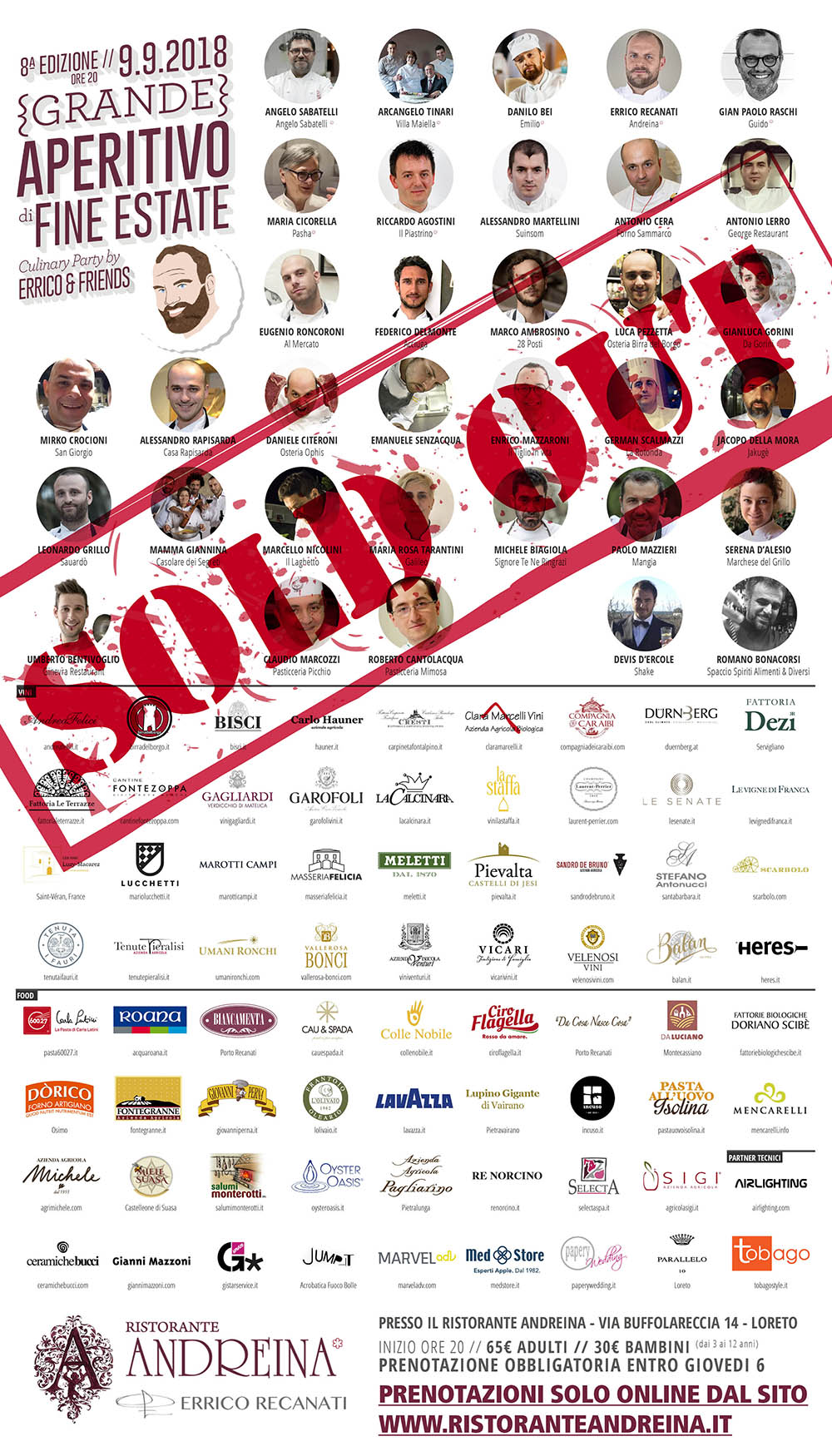 01 sold out_ERRICO RECANATI RISTORANTE ANDREINA Locandina GAFE 2018_V04